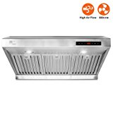 """BV Stainless Steel 30"""" Under Cabinet High Airflow (800 CFM) Ducted Range Hood with LED Lights"""