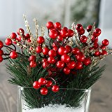 Factory Direct Craft Pine Sprigs, Berries and Gold Ice Sprays - Christmas Holiday Decorating Kit