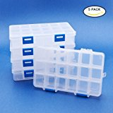 BENECREAT 5 Pack 18 Grids Jewelry Dividers Box Organizer Adjustable Clear Plastic Bead Case Storage Container 16.5x10x3cm, Compartment: 3x2.5cm