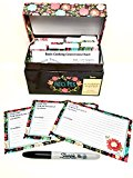 Ahlora's Kitchen 91 Piece Recipe Box and Card Bundle Set - Happy Day Floral